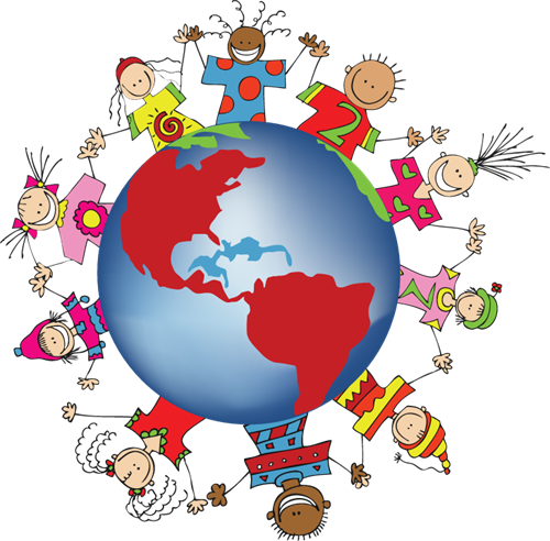 world globe with children of different cultures holding hands around the world