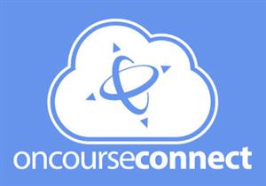 "blue background with white cloud states ""oncourse connect"""